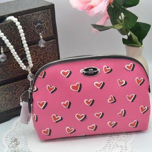 Coach Heart Print Cosmetic Bag NWT